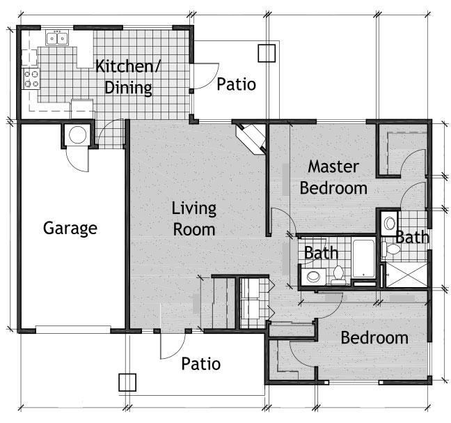 2 Bedroom Cottage Floor Plan